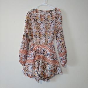 Free People Small Orange Boho Mini Dress